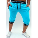 New Fashion Mens Contrast Stripe Trim Drawstring Waist Stretch Cropped Skinny Pencil Pants