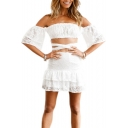 Ruffle Detail Off The Shoulder Short Sleeve Crop Blouse with High Waist A-Line Skirt Co-ords