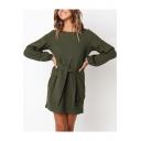 Basic Simple Plain Round Neck Long Sleeve Tied Waist Mini Shift Dress