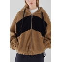 Brown Long Sleeve Colorblock Zip Closure Oversize Hooded Coat