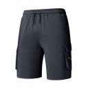 Summer New Trendy Simple Plain Drawstring Waist Cotton Sport Cargo Shorts for Men