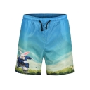 Cartoon Rabbit Print Blue Quick Dry Men's Beach Board Shorts with drawstring