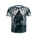 Assassin's Creed Game Figure 3D Pattern Short Sleeve Grey T-Shirt