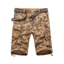 Guys Hip Hop Style Allover Letter Printed Ribbon Hem Cotton Cargo Shorts