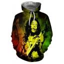 Jamaican Singer-Songwriter Cool 3D Figure Printed Long Sleeve Casual Sport Green Hoodie