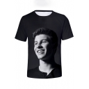 Cool Figure Printed Basic Short Sleeve Black T-Shirt for Guys