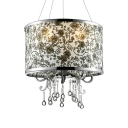 Elegant 16'' Width Crystal Large Pendant Light  Features Black Flowers on White Shade