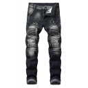 New Stylish Cool Patchwork Dark Washed Stretch Fitted Black Jeans for Men