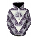 Stylish 3D Geometric Pattern Relaxed Fit Pullover Hoodie in Purple