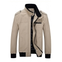 Fashion Band Collar Solid Epaulets Long Sleeve Cotton Wash Zip Up Jacket For Men