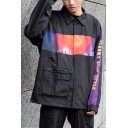 Hip Hop Style Galaxy Letter Print One Big Zipper Pocket Press-Stud Closure Black Windbreaker Shirt Jacket for Guys