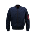 Men's Trendy Stand Collar Plain Long Sleeve Letter Print Zipper Pockets Men's MA-1 Flight Jacket