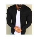 Fashion Band Collar Plain Long Sleeve Stripe Pleated Zip Placket Cardigan Jacket for Men