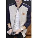 Men's Casual Stand Collar Logo Patchwork Colorblock Long Sleeve Zip Closure Baseball Jackets