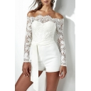 Hot Sale Off The Shoulder Lace Up Long Sleeve Plain Drawstring Waist Sexy White Rompers