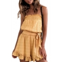Fashionable Yellow Strapless Detail Bow Belted Ruffle Hem Summer Plain Romper