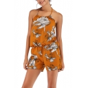 Sexy Fashion Halter Sleeveless Floral Printed Romper
