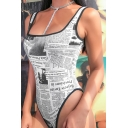 Retro Square Neck Sleeveless Newspaper Printed Slim Fit White Bodysuit