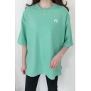 Fashion Simple Moon Embroidered Crew Neck Summer Cotton Relaxed T-Shirt