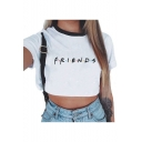 Summer Simple Letter FRIENDS Printed Short Sleeve Round Neck Cropped White T-Shirt
