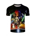 3D Film Character Printed Black Short Sleeve Fitted T-Shirt
