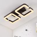 Coffee Brown C Shape Flushmount Contemporary Minimalist Plastic Shade LED Flush Light