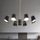 Bucket Hanging Ceiling Lamp Modern Design Metallic 3/6/8 Lights Chandelier in Silver for Study Room