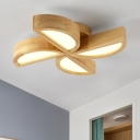 4 Lights Windmill Ceiling Fixture Modern Chic Sitting Room Woody Surface Mount LED Light in Natural