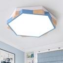 Colorful Modern Hexagon Flush Mount Nursing Room Kindergarten Wood and Metal LED Lighting Fixture