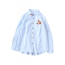 Cute Cartoon Rabbit Strawberry Embroidered Basic Long Sleeve Button Down Shirt