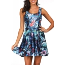 Summer Fashion 3D Blue Floral Printed Reversible Scoop Neck Mini A-Line Tank Dress