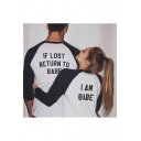Funny Letter IF LOST RETURN TO BABE I AM BABE Raglan Sleeve White T-Shirt for Couple