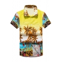 Summer Holiday Fashion Palm Tree Printed Short Sleeve Cotton Casual Unisex Hawaiian Shirt