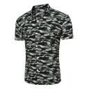 Fashion Camo Pattern Men's Beach Slim Fitted Short Sleeve Shirt