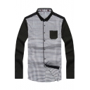Men's Fashion Gingham Printed Knit Patchwork Long Sleeve Colorblocked Button-Down White Shirt