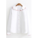 Stylish Leaf Embroidered Peter Pan Collar Long Sleeve Button Down Shirt