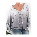 Hot Fashion Star Print Ombre V-Neck Long Sleeve Loose Blouse