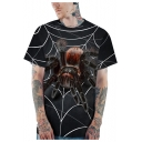 Black 3D Spider Printed Basic Round Neck Short Sleeve Loose Casual T-Shirt