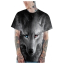 Black 3D Wolf Pattern Basic Short Sleeve Round Neck Relaxed T-Shirt