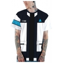 Stylish Round Neck Short Sleeve 3D Colorblock Loose Casual Blue T-Shirt