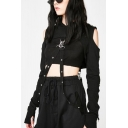 Punk Sexy Cold Shoulder Hollow Out Straps Embellished Long Sleeve Cropped Hoodie