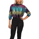 Colorful Long Sleeve Round Neck Sequined Relaxed Pullover Sweatshirt