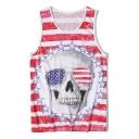 Mens Summer Cool Stripe Skull Printed V-Neck Sleeveless Mesh-Panelled Quick-Dry Red Tank