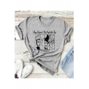Cool Comic Letter YOU CAN'T SIT WITH US Print Grey Casual T-Shirt