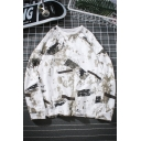Hip Hop Style Fashion Graffiti Printed Round Neck Long Sleeve Pullover Relaxed Sweatshirt