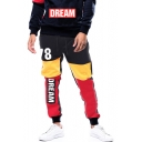 Mens Street Style Fashion Colorblocked Letter DREAM Print Drawstring Waist Cotton Sweatpants