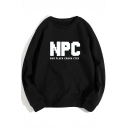 NPC Fashion Letter Printed Round Neck Long Sleeve Loose Leisure Sweatshirt