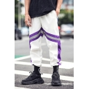 Fashion Stripe Patched Drawstring Waist Hip Hop Style Unisex Casual Loose Track Pants