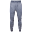 Men's New Stylish Zip-Embellished Knee Drawstring Waist Skinny Fit Sweatpants