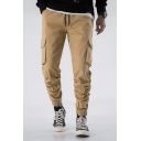 Mens Hot Fashion Drawstring Waist Simple Plain Elastic Cuff Casual Cargo Pants
